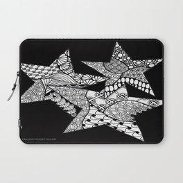 Midnight Zentangle Stars Black and White Illustration Laptop Sleeve
