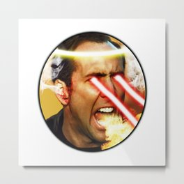 Nicolas Rage Cage | Funny Meme | Nic Cage Face | Gift For Men, Woman Metal Print