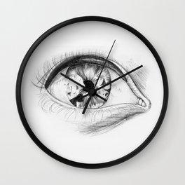 Pen Eye Drawing Wall Clock