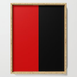 Psychedelic black and red stripes VII. Serving Tray