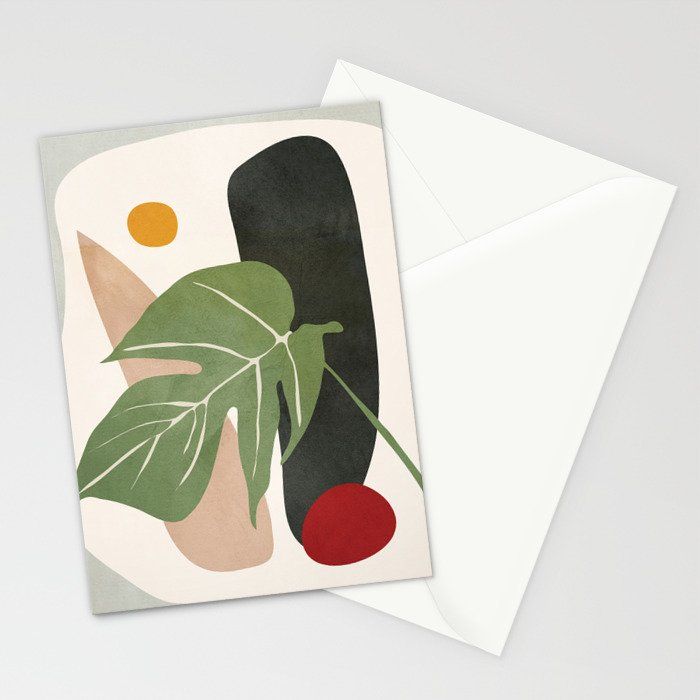 Abstract Monstera Leaf Stationery Cards