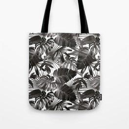 palm leaves grey seamless pattern Tote Bag