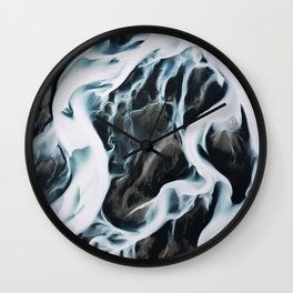 Aerial of an abstract River in Iceland Wall Clock