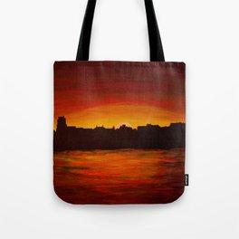 Dutch river shore sunset Tote Bag