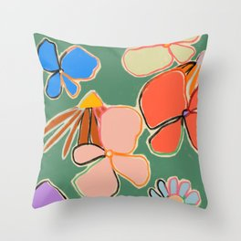 VINTAGE GARDEN GREEN Throw Pillow