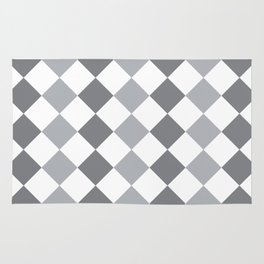 Gray and white square pattern Rug