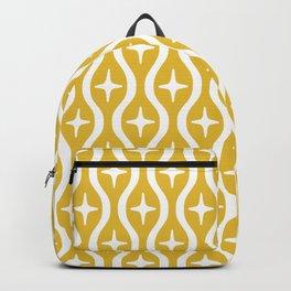 Mid century Modern Bulbous Star Pattern Mustard Yellow Backpack