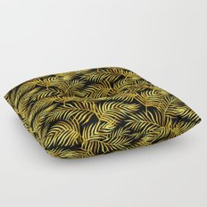 Palm Leaves_Gold and Black Floor Pillow
