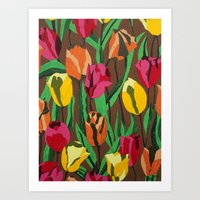 tulips Art Prints featuring Tulips  by Marjolein
