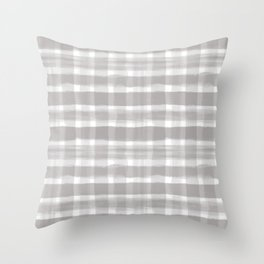 Slate Violet Gray SW9155 Watercolor Brushstroke Plaid Pattern on White Throw Pillow
