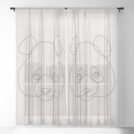 One Line Panda Sheer Curtain