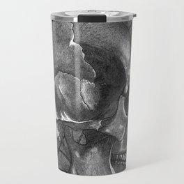 Black Grey and White, American Style Tattoo Skull Travel Mug