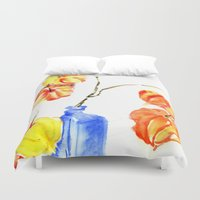 lanterns Duvet Covers featuring Chinese Lanterns by Kate Havekost Fine Art