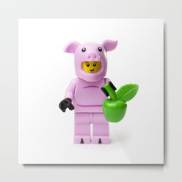 Minifig Pig with an Apple Metal Print
