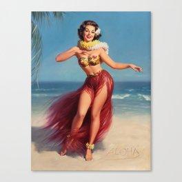 Hula Girl Vintage Pin Up Art Canvas Print