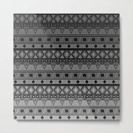 black and white geometric striped pattern Metal Print