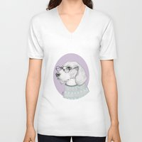 beagle V-neck T-shirts featuring Beagle by Indi Maverick