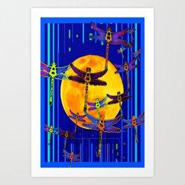 Dragonflies Moon Fantasy Blue Art Abstract Art Print