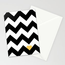 Heart & Chevron - Black/Yellow Stationery Cards
