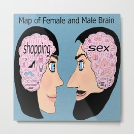 map of female and male brain Metal Print