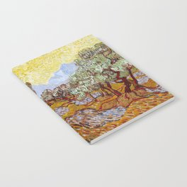 Van Gogh - Olive Trees with yellow sky and sun Notebook