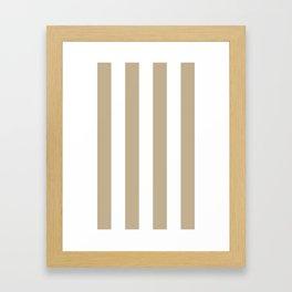 Vertical Stripes - White and Khaki Brown Framed Art Print