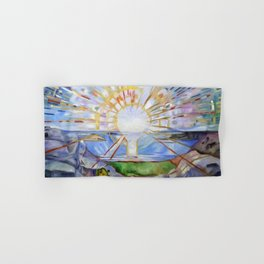The Brilliance of Red Sunrise coastal nautical landscape painting by Edvard Munch Hand & Bath Towel