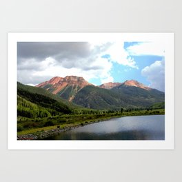 Red Mountains of the 1880's Gold Rush Art Print