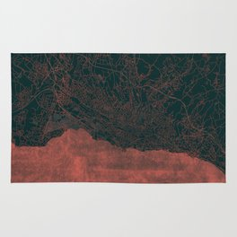 Lausanne Map Red Rug