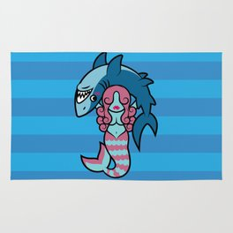Shark Wrestler Mermaid Rug