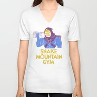 gym V-neck T-shirts featuring snake mountain gym by Louis Roskosch