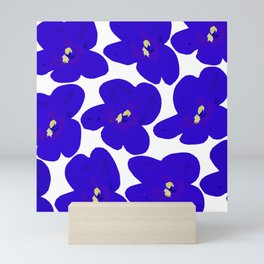 Blue Retro Flowers #decor #society6 #buyart Mini Art Print