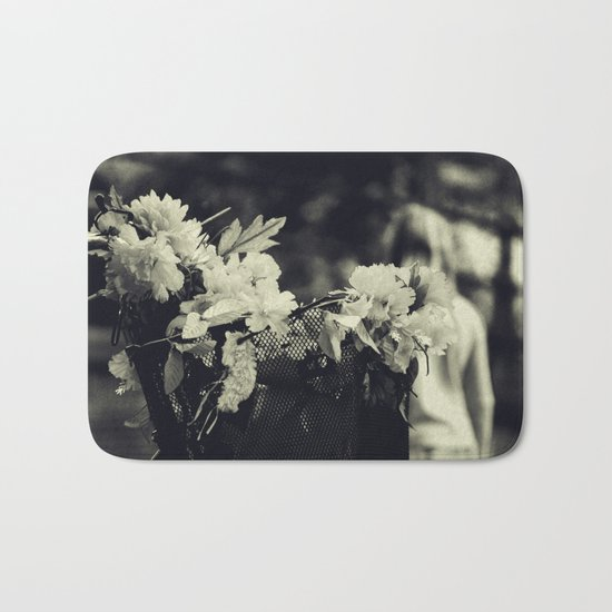 Basket with flowers Bath Mat