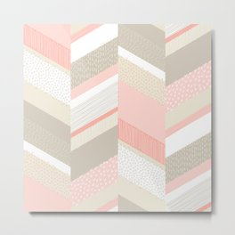 Chevron with Textures / Tan and Rose Metal Print