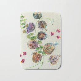 Elegant Floral Buds by Barbara Chichester Bath Mat