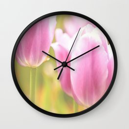 Spring is here with wonderful  colors - close-up of tulips flowers Wall Clock