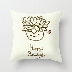 Happy Succulent Throw Pillow