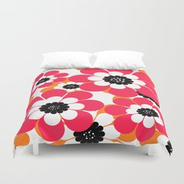 The floral pattern . red and yellow on a white background . Duvet Cover
