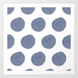 Watercolor chambray dots Art Print