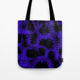 Abstract pattern of purple tentacles and bubbles on a black background. Tote Bag