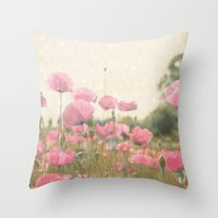 poppies Throw Pillows featuring POPPIES by Monika Strigel