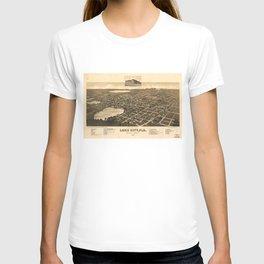 Vintage Pictorial Map of Lake City Florida (1885) T-shirt