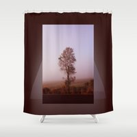justin timberlake Shower Curtains featuring Standing alone in the fog by Donuts
