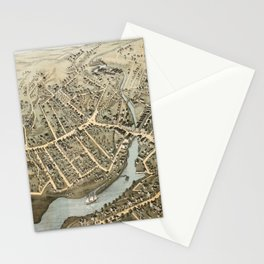 Vintage Pictorial Map of Norwalk Connecticut (1875) Stationery Cards