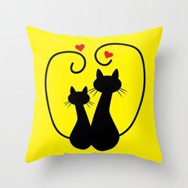 Valentine's Day Kittens Throw Pillow