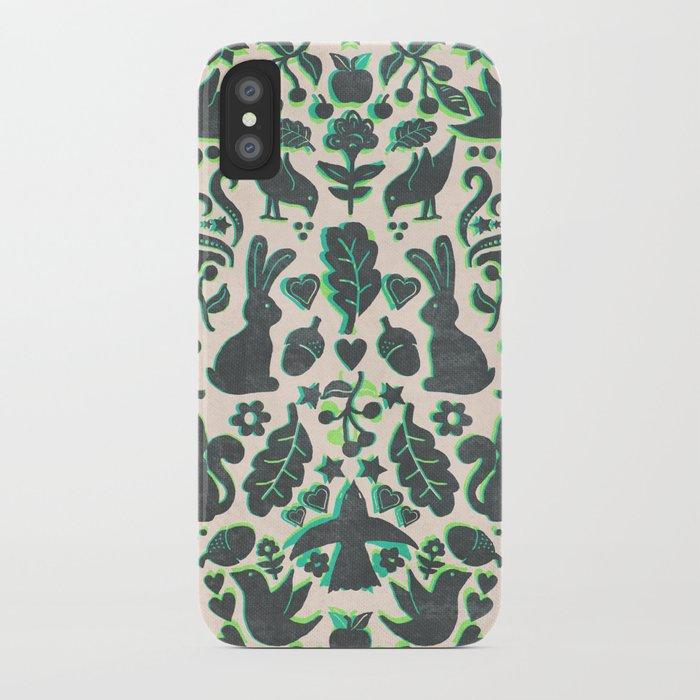 Two Rabbits - folk art pattern in grey, lime green & mint iPhone Case