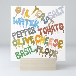 Margarita Pizza Recipe Food Lettering Mini Art Print