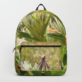 Watercolor Flower, Arctic Gentian 01, RMNP, Colorado, White Alpine Beauty Backpack