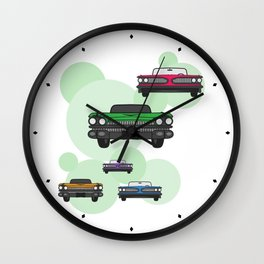 Route 66 colorful cars Wall Clock