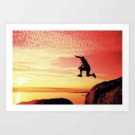 sunset jump Art Print